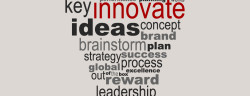 Innovate business concept made with words drawing a light bulb